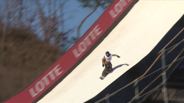 competitors practice for the fis snowboard world cup big air event at the alpensia ski jumping centre in pyeongchang as the south korean city embarks... - südkorea stock-videos und b-roll-filmmaterial