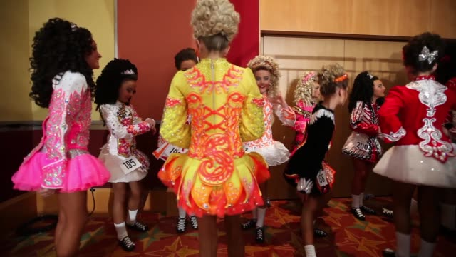 Competitors wait backstage before performing at the World Irish Dance Championship on April 13 2014 in London England The 44th World Irish Dance...