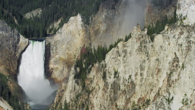 compilation of an osprey nest on the top of a cliff near the lower falls in the yellowstone national park - lower yellowstone falls stock videos & royalty-free footage