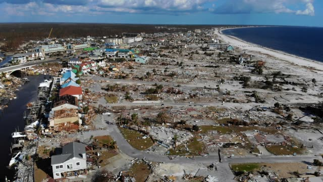 vidéos et rushes de compilation of footage showing devastation caused by hurricane michael after it hit panhandle florida... - démoli