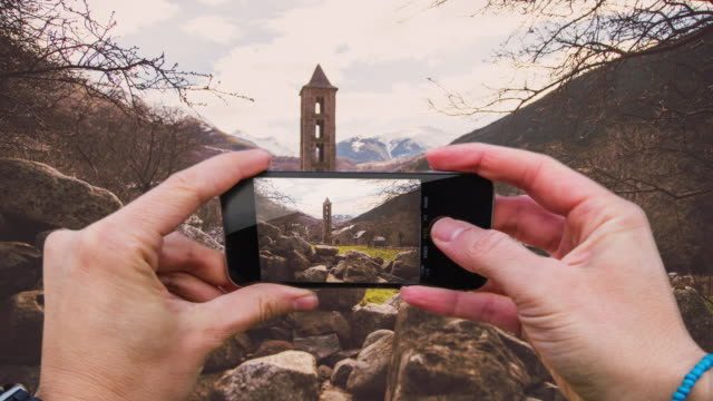 compilation of my all pictures in a time lapse taken from personal point of view with me taking pictures with the smartphone in a mix of pictures of the city, nature and travels. - montaggio in sequenza video stock e b–roll