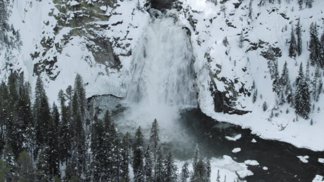 compilation of the partially frozen upper falls - river yellowstone stock videos & royalty-free footage