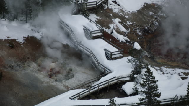 compilation of the snow covered boardwalks at the black pit spring - evaporation stock videos & royalty-free footage