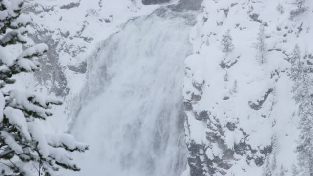 compilation of the snowy upper falls and trees in a foggy canyon and the sunlight reflected by diamond dust in the canyon - river yellowstone stock videos & royalty-free footage
