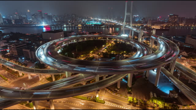t/l ws ha pan complex interchange at night / shanghai, china - traffic time lapse stock videos & royalty-free footage