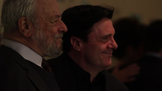 composer stephen sondheim and nathan lane posing for paparazzi on the red carpet at the museum of modern art - nathan lane stock videos & royalty-free footage