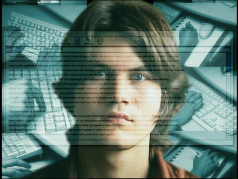 Composite close up computer screen superimposed over face of teenage boy with hands typing in background