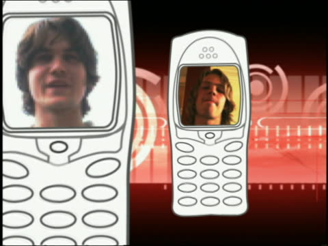 composite close up zoom in pan faces of teenage girl and boys appearing on screens of animated video cell phones - 2004 stock videos & royalty-free footage