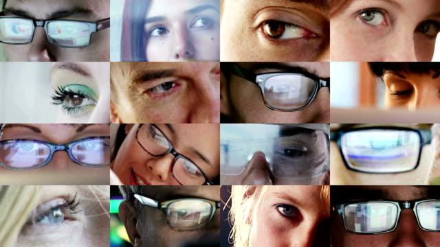 vídeos de stock e filmes b-roll de colagem de olhos co - solução
