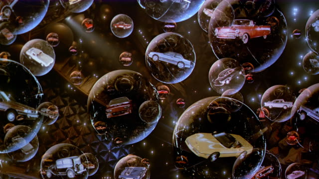 vídeos y material grabado en eventos de stock de composite floating bubbles containing chevrolet cars - surrealista