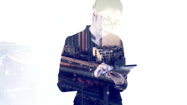 composite image of businesswoman using tablet device and city - multiple exposure stock videos & royalty-free footage