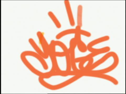 vídeos de stock, filmes e b-roll de composite images of different colored graffiti being written on white background - montagem técnica de filmagem