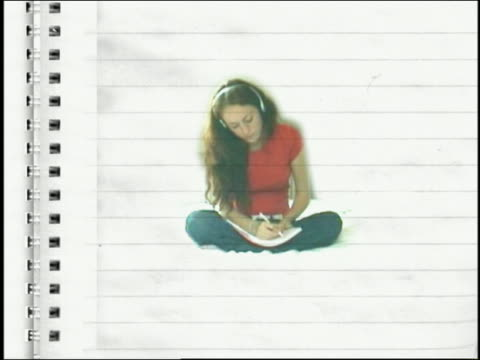 composite medium shot teenage girl listening to headphones and writing superimposed on animated notebook pages - one teenage girl only stock-videos und b-roll-filmmaterial