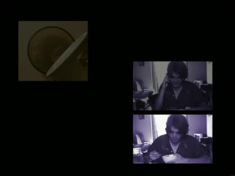 stockvideo's en b-roll-footage met composite split screen montage of daily routine of teenage boy from waking to sleeping - alleen één tienerjongen