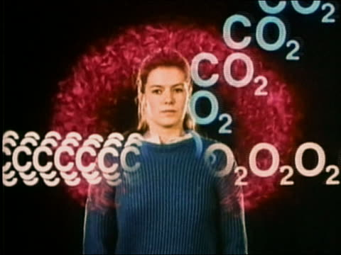 vídeos de stock, filmes e b-roll de 1987 composite woman breathing with transposed food and oxygen showing the body producing carbon dioxide - dióxido de carbono