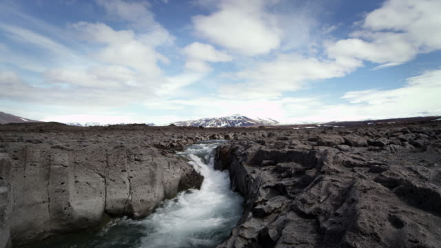Composition of different frame rates with rocky river, mountain, and clouds in Iceland