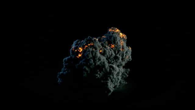 composition with large explosion in dark 3d rendering - graphic war footage stock videos & royalty-free footage