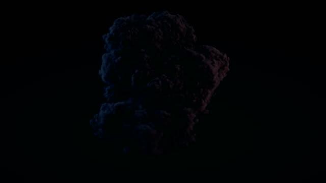 Komposition mit großen Explosionen in Dunkelheit mit alpha Matte zu komponieren. 3D-Rendering