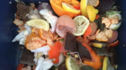 Compost container full of food scraps and waste