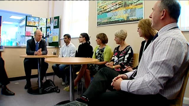 comprehensive spending review r11101008 / burnley int chris grayling mp talking with people on benefits at the community restart centre - lancashire stock videos and b-roll footage
