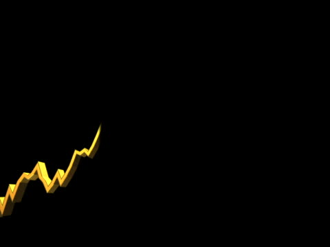 computer animated imagery of a graph line rising and falling against a black background