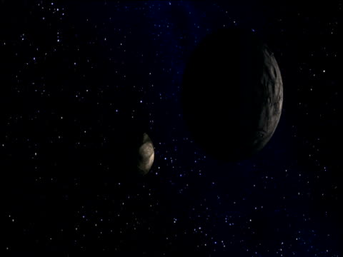 computer animation of pluto and charon in orbit - orbiting stock videos & royalty-free footage
