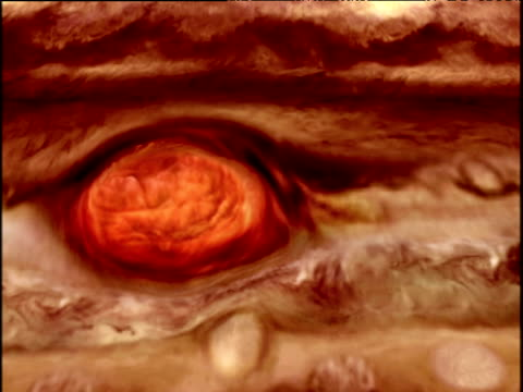Computer animation of swirling red gasses of Jupiter's 'Great Red Spot'