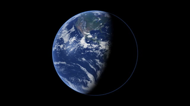 computer animation of the planet earth rotating, half in shadow. - 1 minute or greater stock videos & royalty-free footage