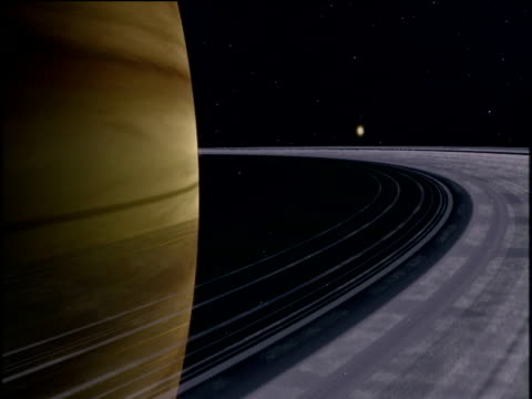 Computer animation of track around rings of Jupiter