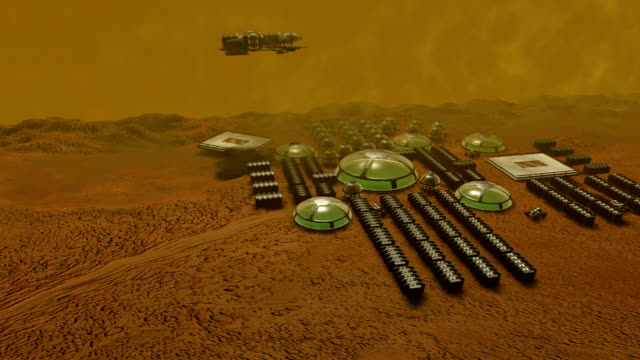 computer animation of world base. wide shot - kuppeldach oder kuppel stock-videos und b-roll-filmmaterial