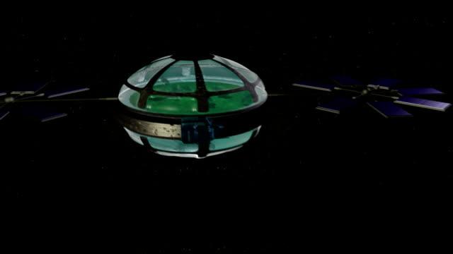vídeos de stock, filmes e b-roll de computer animation of world ship - domo