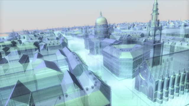 a computer animation tracks down a boulevard to reveal saint paul's cathedral. - boulevard stock videos & royalty-free footage