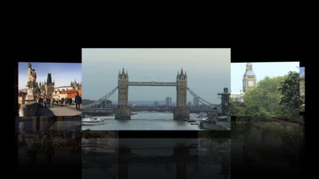 vídeos y material grabado en eventos de stock de cgi computer animation, travel destinations - pantalla dividida