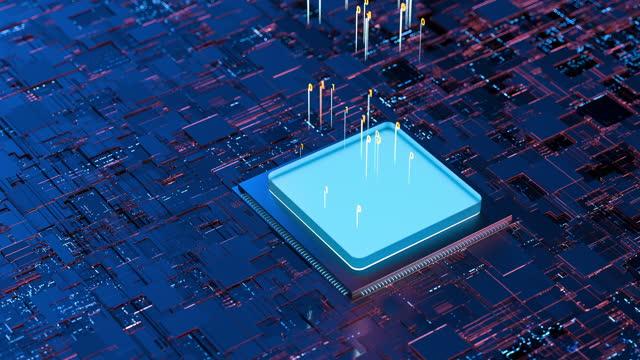 vídeos y material grabado en eventos de stock de chip de computadora, renderizado 3d - componente de ordenador