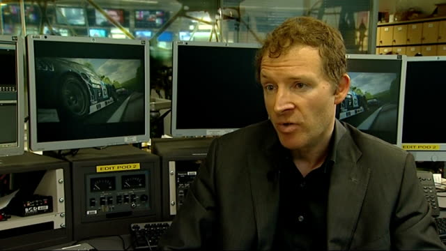 Xbox One v Playstation 4 / UK gaming industry Richard Wilson interview SOT Reporter to camera Warwickshire Royal Leamington Spa EXT Cars along...