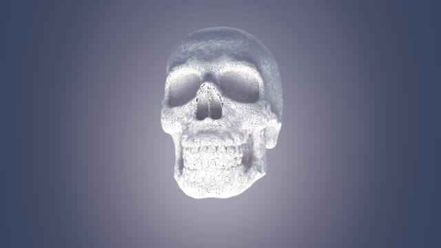 computer generated abstract animation of growth white plastic wire skull surrounded by light mist. dynamic effect. geometric modern pattern. 3d rendering. 4k, ultra hd resolution - logo stock videos & royalty-free footage