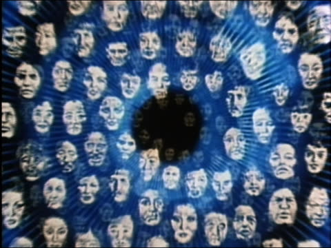 1984 computer generated image animated graphic of multiple faces moving toward CAM w/blue tunnel background / AUDIO