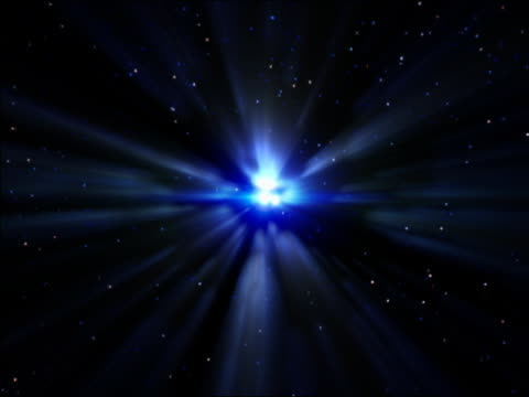 computer generated image burst of bright, blue light flowing towards camera with starscape in background (super nova) - 超新星点の映像素材/bロール