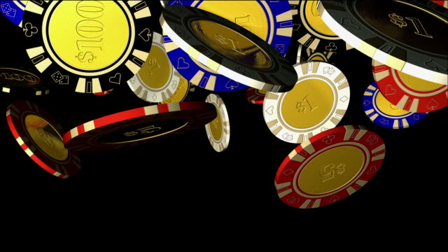 computer generated image close up poker chips falling against black background - gambling chip stock videos & royalty-free footage
