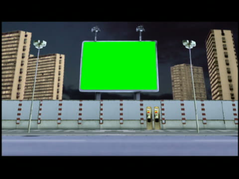 Computer generated image composite dolly shot traffic passing green screen billboard on street / high-rises and time lapse clouds in background