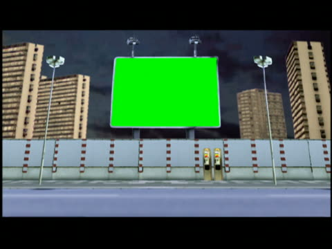 computer generated image composite traffic passing green screen billboard and high-rises / time lapse clouds in background - film composite stock videos & royalty-free footage
