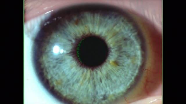 computer generated image extreme close up eye blinking with digital numbers scrolling across it - 合成膠片 個影片檔及 b 捲影像
