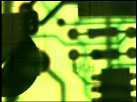 computer generated image extreme close up green montage of circuitboards superimposed with computer charts - confusion stock videos & royalty-free footage