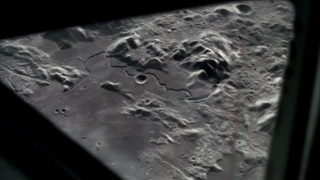 computer generated image high angle long shot spacecraft point of view flying over surface of moon - meteor crater stock videos & royalty-free footage