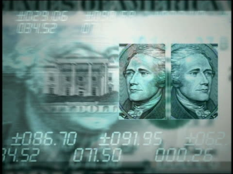 computer generated image montage of us currency and numbers - five us dollar note stock videos & royalty-free footage