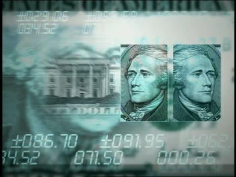 vídeos y material grabado en eventos de stock de computer generated image montage of us currency and numbers - billete de cinco dólares estadounidense
