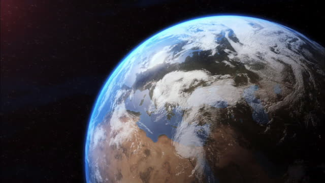 a computer generated image of earth focuses on france. - atmosphäre stock-videos und b-roll-filmmaterial