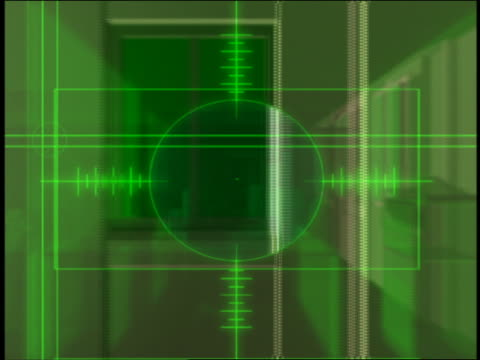 computer generated image point of view dolly shot cross hairs moving past virtual office windows with interior visible - fadenkreuz stock-videos und b-roll-filmmaterial