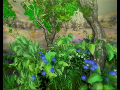Computer generated image point of view through forest with flowers