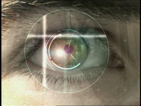 stockvideo's en b-roll-footage met computer generated image retinal scanning of man / data screen identifying man as 'ok' - netvlies